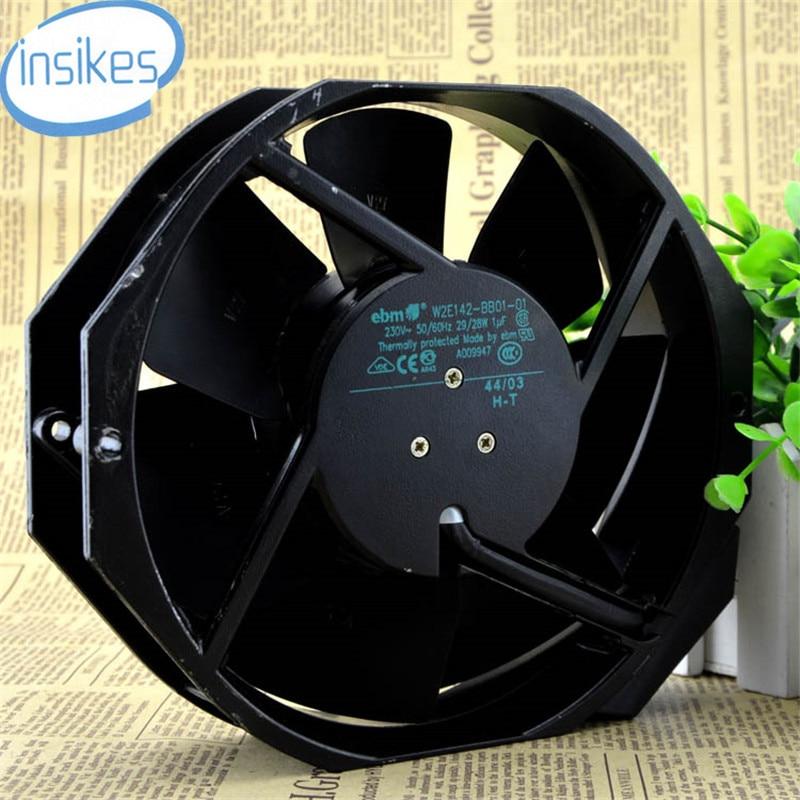 W2E142-BB01-01 Full Metal Cooling Fan AC 230V 27W/28W 0.12A/0.13A 3350RPM 17238 17cm 172*150*38mm 50/60HZ 2 Wires