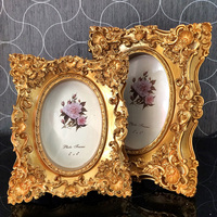 fashion baroque resin photo frame royal embossed bright gold books luxury swing photo frame