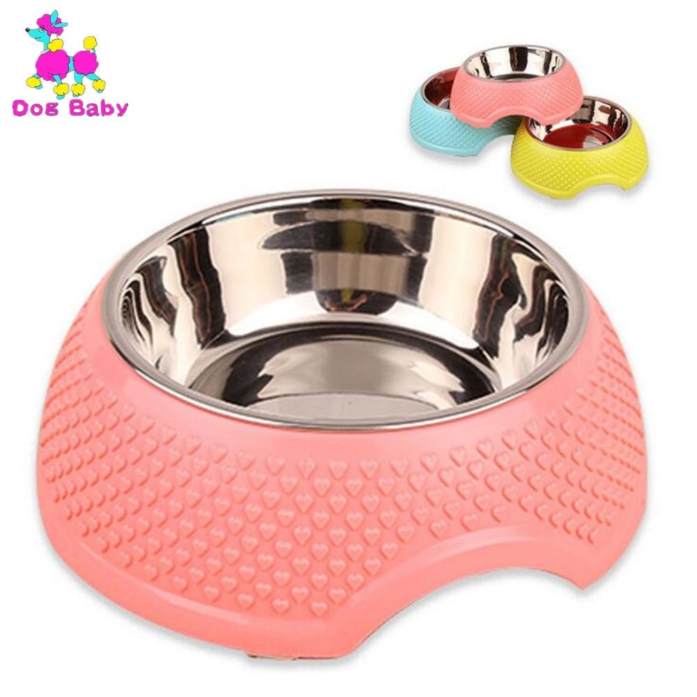 DOGBABY Χονδρικό Pet Pet Bowl Pet Επιτραπέζια με νερό από ανοξείδωτο χάλυβα σφραγίδα μπολ σκυλιών ροζ κίτρινο μπλε με μοτίβα καρδιά μοτίβο μπολ