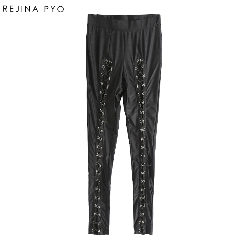REJINAPYO Women Black Sexy Skinny Pencil Pant Female Criss-cross Bandage Hallow Out Trousers Elastic High Waist New Arrival