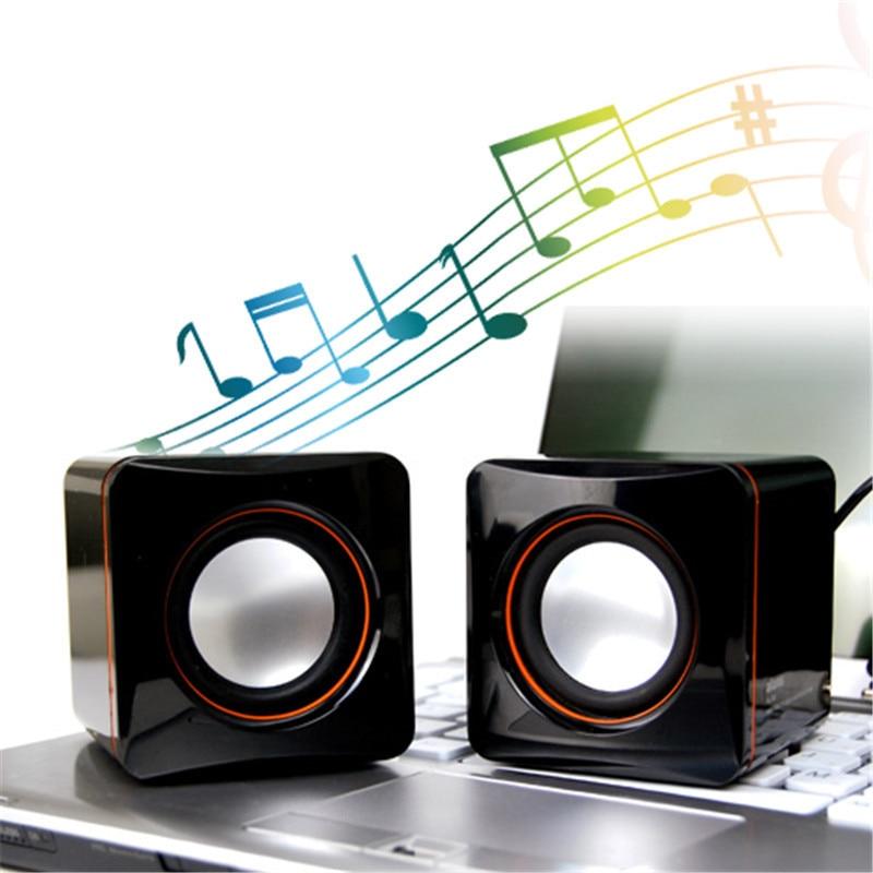 NEW A Pair Cube Shape Speaker 3.5mm Port Mini Notebook Style Portable Laptop / Desktop Pure Sound USB Speaker