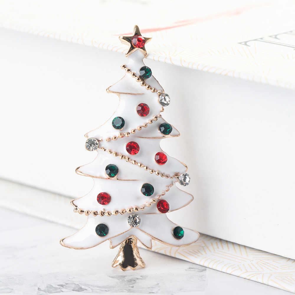 2019 クリスマスツリーのブローチスカーフバックル襟ピンラインストーン合金ファッションジュエリーホリデー装飾のギフト
