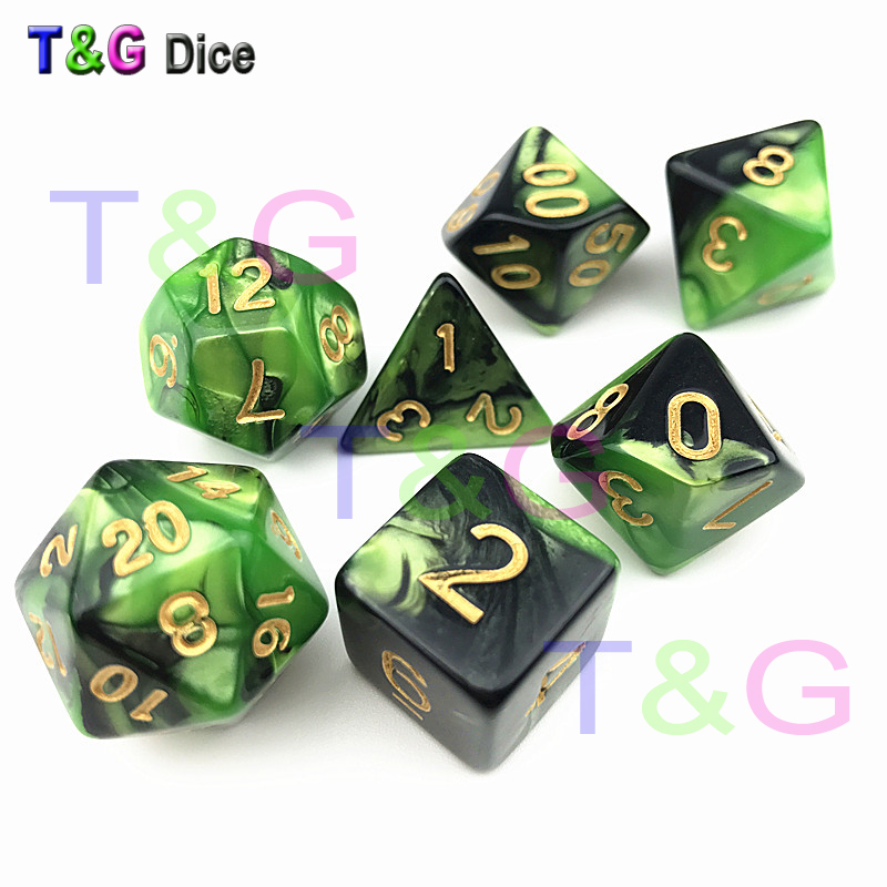 Special Cool  Dice Sets of 7PCS/ Set RPG E Dnd  cube game mix-color dices for Tabletop Game as Party Gift