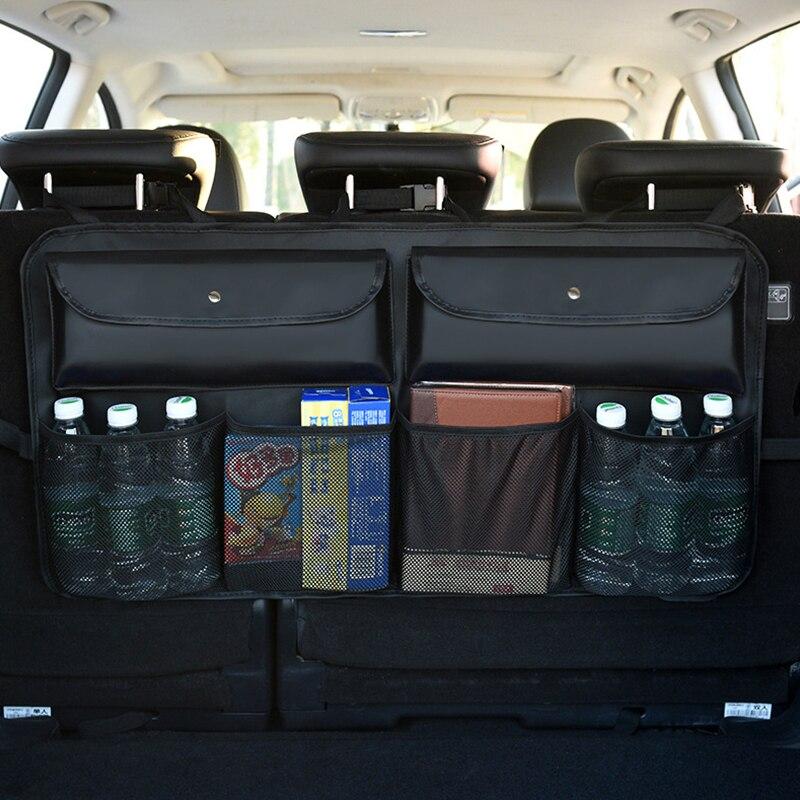 De couro Do Carro Assento Traseiro de Volta Caso Organizador Storage Bag Multi Bolso Pendurado Redes Tronco Auto Estiva Tidying Acessórios Interiores