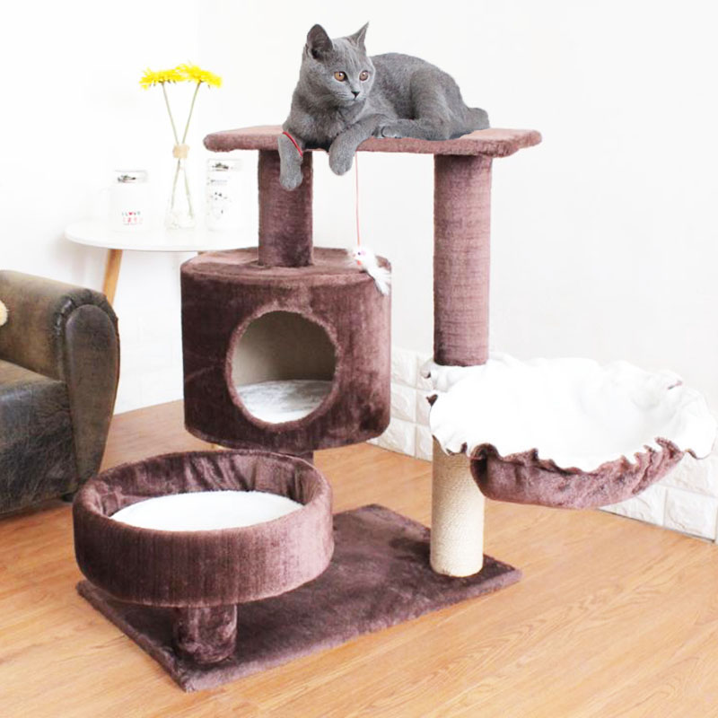 HEYPET New Cat Tree House with Hanging Ball Kitten Furniture Scratch Solid Wood for Cats Climbing