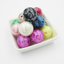 20mm 100pcs/bag Mixed Color Print White Floral Flower Imitation Pearl Acrylic Beads