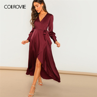 COLROVIE Burgundy V Neck Belted Wrap Asymmetric Party Maxi Dress Women Clothing 2019 Spring Green Long Sleeve High Waist Dress