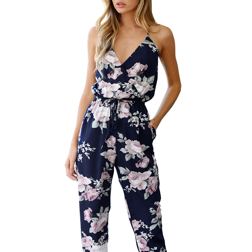 Boho Floral Printed Long Jumpsuit Women Sexy Sleeveless Backless Playsuit Rompers Ladies Casual Loose Jumpsuits Trousers #Ju
