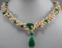 New Arriver Charming Women Jewellery Cultured Freshwater Pearl Green Jades Necklace Pendant Birthday Party Lady's Gift