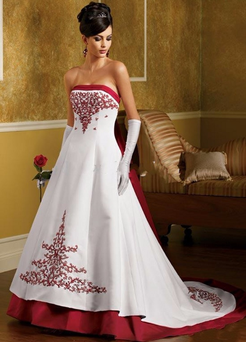 New arrival white and red wedding dresses embroidery 2017 for Wedding dresses 2017 red