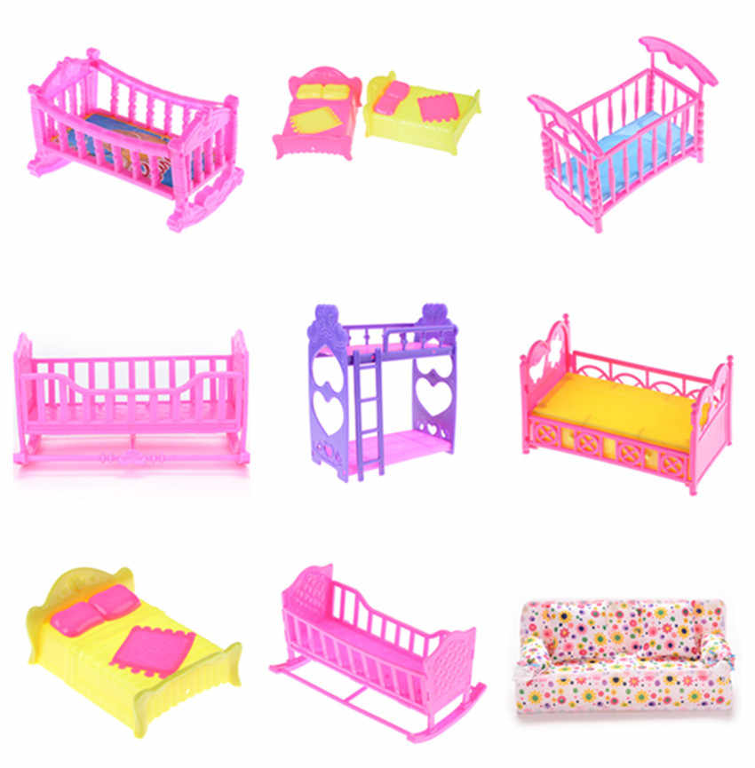 Favorite Design  Plastic Cloth/Cradle/Double Bed Rocking Cradle For Barbie Kelly Doll Bedroom Furniture Accessories Girls Toys