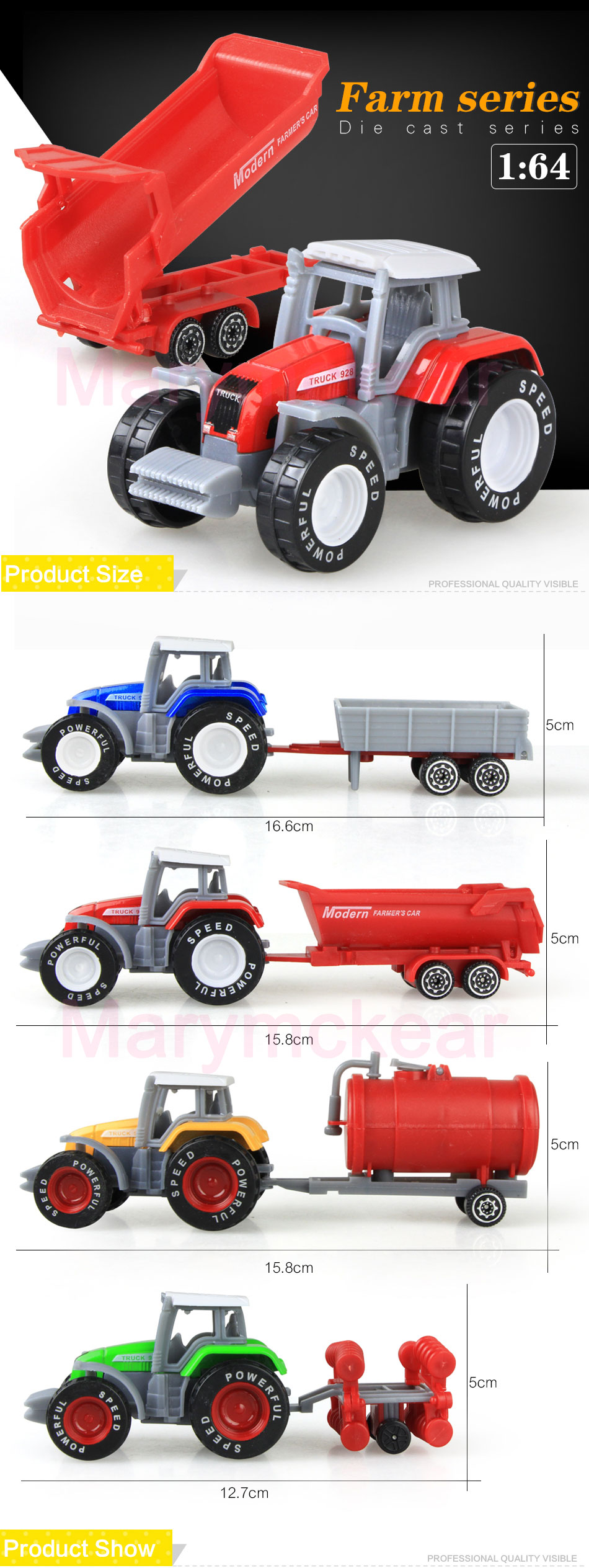1 pcs Tractor Toy Farmer Mini Car Model Pickup in 4 Colors Tractor Juguete Detachable Diecast Truck Toy
