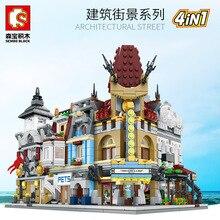 цена на 3D Mini City Street Series Pet Shop Restaurant Theater Fire Department 4 in 1 DIY Blocks Bricks Educational Building Blocks