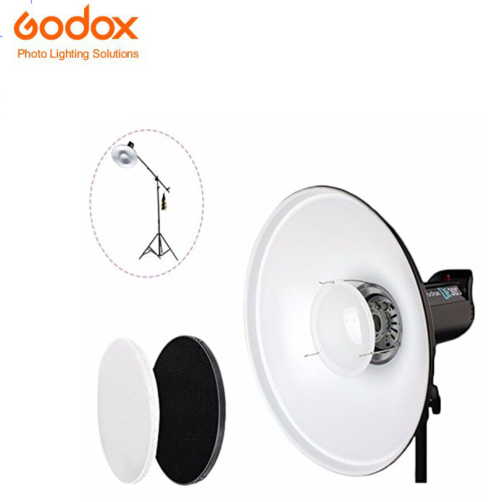 Godox 420mm 16.5inch Beauty Dish Bowens S Type White/Silver Honeycomb Grid Diffuser Sock Compatible with Godox AD600B/AD600BM светоотражатель godox rft 01 gold silver 80x120cm