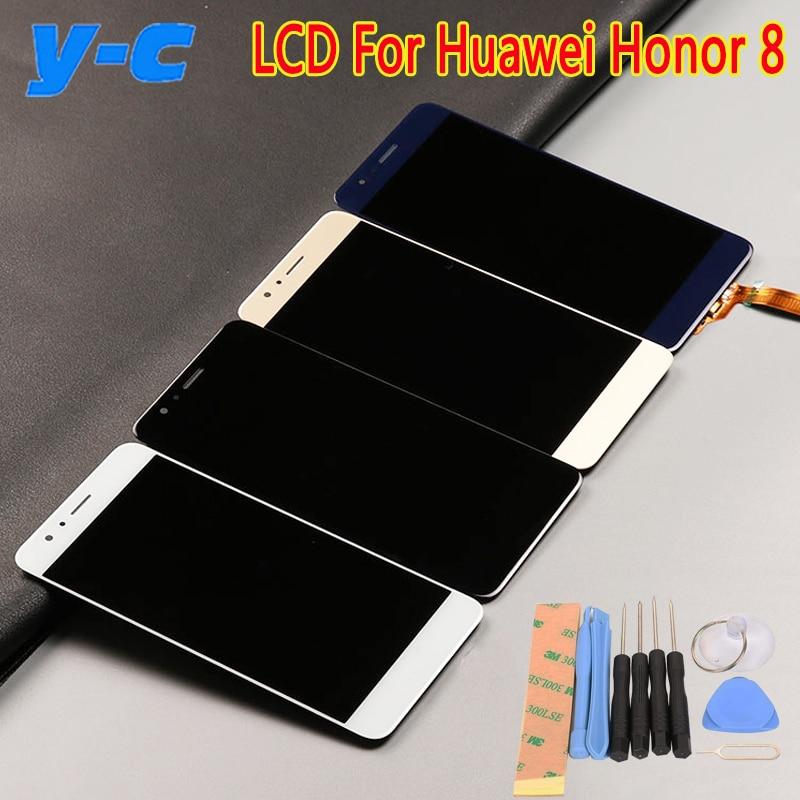 imágenes para Para huawei honor 8 lcd display + pantalla táctil 100% nuevo 5.2 pulgadas panel de la pantalla de visualización de cristal digitalizador para huawei honor 8