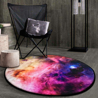 3D Earth/Cosmic Outer Space Stars/Starry Sky Soft Thicken Coral Velvet Rug Round Anti slip Area Rug and Carpet for Living Room