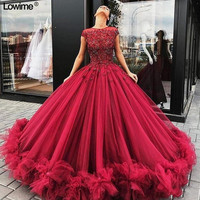 Plus Size Ball Gown Burgundy Quinceanera Dresses For Sweet 16 Long Prom Party Dresses With Beads And Lace vestidos de 15 anos