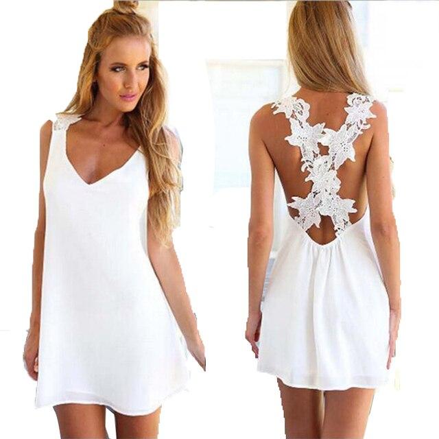 Летние пикантные халат Платья для женщин белые вечерние цветы полые пляжное платье-туника бохо парео 2017 Праздничное платье сарафан Одежда для Для женщин