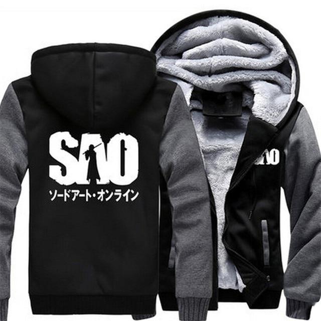 Anime Thicken Hoodie Coat Sword Art Online SAO Cosplay Jacket Sweatshirts Nice