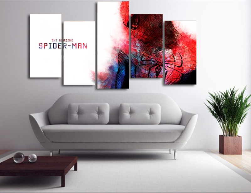 5Piece Canvas Painting Wall Picture Amazing Spiderman Home Decora Prints Poster Quadros Christmas Decorations For Living Room