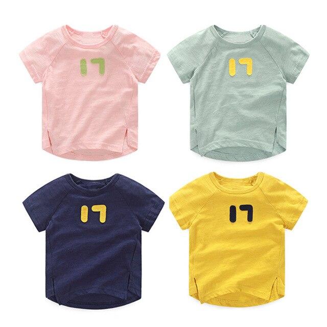 2016 Мальчиков летом короткий хлопок футболки девочка цифровые спортивные шею рубашка Дети Бесплатная доставка