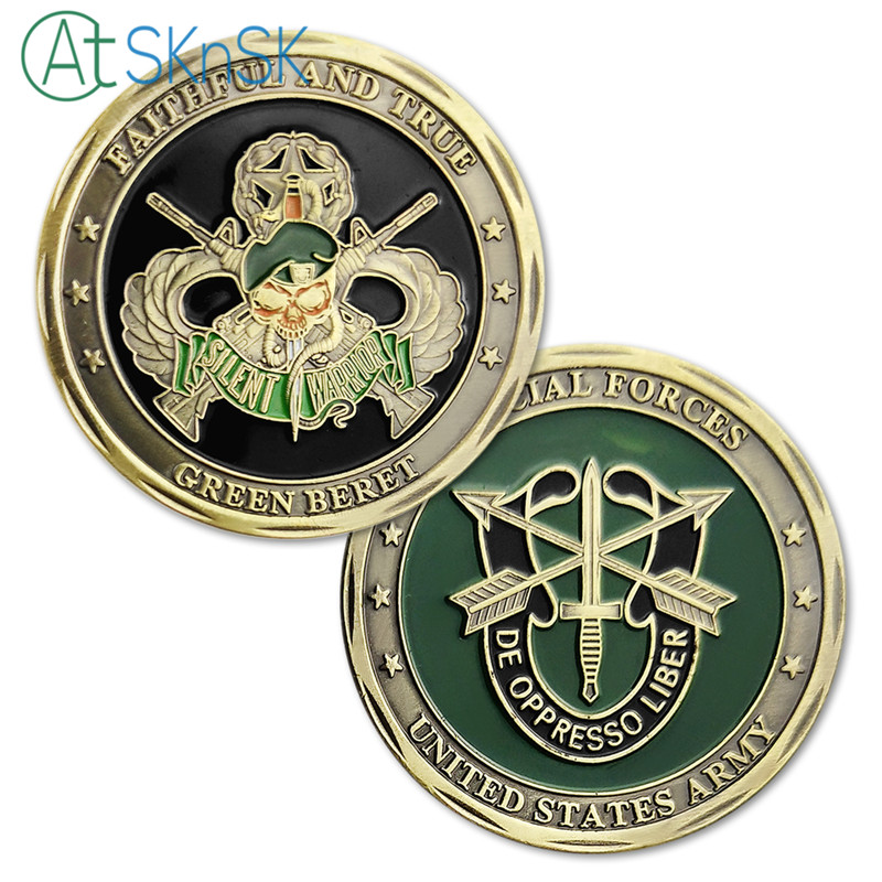 Hot sale new coin Faithful and true collectible bronze plated Skull crafts Special Forces Unite States Army challenge coins