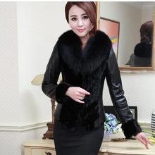 Женские куртки из искусственного лисьего меха, короткие приталенные куртки размера плюс, черные женские Лоскутные пальто из искусственной кожи, женская меховая верхняя одежда K310
