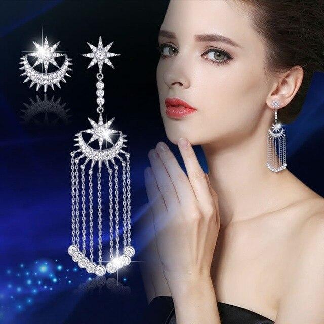 Anti-allergic Korean net red earrings female personality asymmetry long temperament star moon tassel earrings 461
