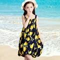 Vests Dresses For Girls Children Clothing Lemon Print Girls Bohemian Beach Dresses Chiffon Kids Party Dress 2017 Summer Sundress