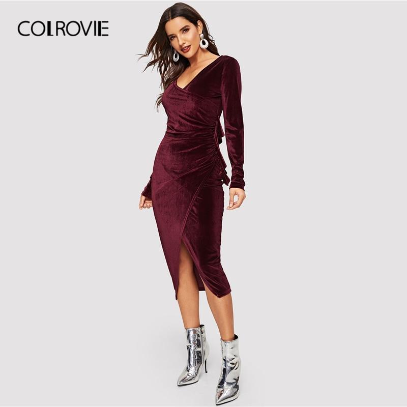 COLROVIE Burgundy Solid Wrap V-Neck Velvet Party Dress Womens 2019 Spring Korean Long Sleeve Elegant Dress Ladies Knot Dress short dresses office wear