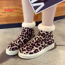 2019 New Fashion Snow Boots Women Winter Leopard Suede Flats Warm Ankle Shoes High Top Canvas Sneakers Ladies Zapatos De Mujer
