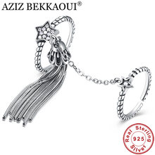 AZIZ BEKKAOUI 925 Sterling Silver Clear CZ Star & Tassel CZ Double Layer Finger Ring for Women Romantic Princess Silver Jewelry(China)