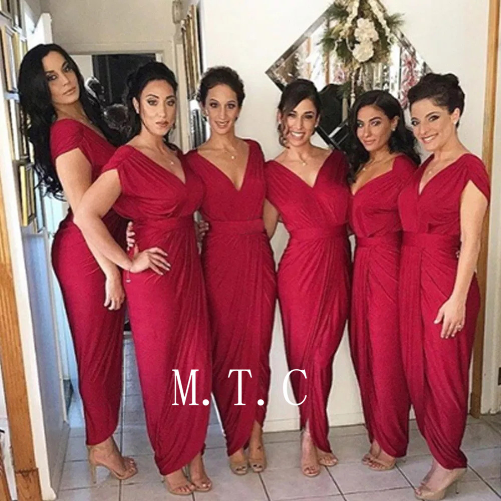 2019 High Quality Burgundy Pleat Elastic Satin Bridesmaid Dresses V Neck Sheath Style Ankle Length Long Wedding Party Gown Cheap