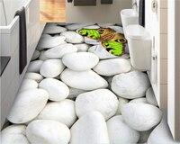 Beibehang Custom Made Interior Wallpaper Classic White Pebble Green Butterfly Bathroom 3D Flooring Tile Wallpaper For