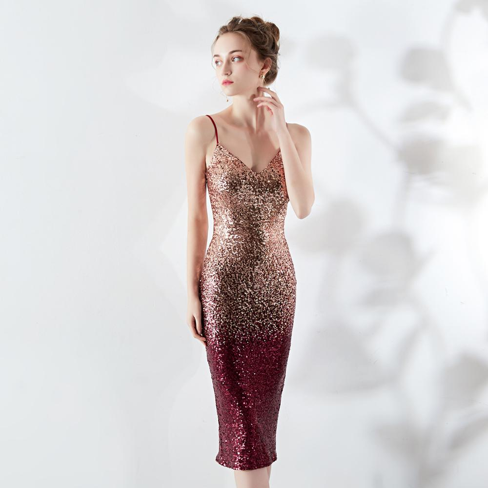 High Quality Sequins   Cocktail     Dresses   2020 New Arrival Sexy V Neck Spaghetti Straps Prom Party Gown Bodycon Vestido de Noiva