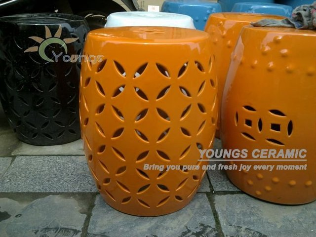 Bright Orange Color Glazed Ceramic Outdoor Garden Stools