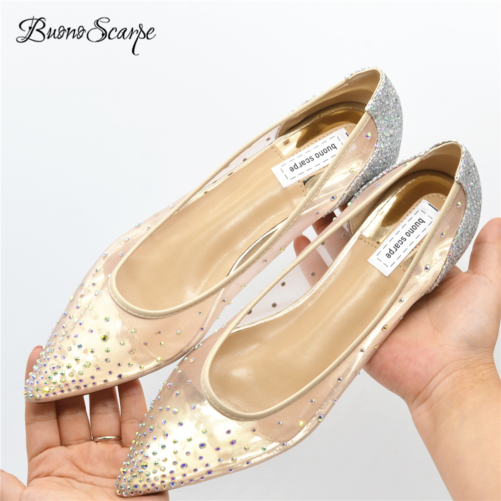 BuonoScarpe Women Pointed Toe Flats Crystal Bling Fashion Silver Shoes Flat Luxury See Through Party Wedding