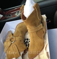 Follwwith Top Brand Tan Black Colors Suede SuperStar Cross Buckles Spikes High Heels Women Boots Ankle Botas Shoes Woman
