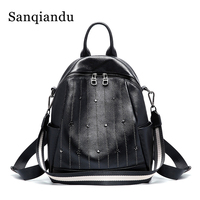 Small Black Backpack Genuine Leather Rivet Stylish Backpack Ladies Backpack Women Backbag Girls Bag Wide Strap Travel Bags