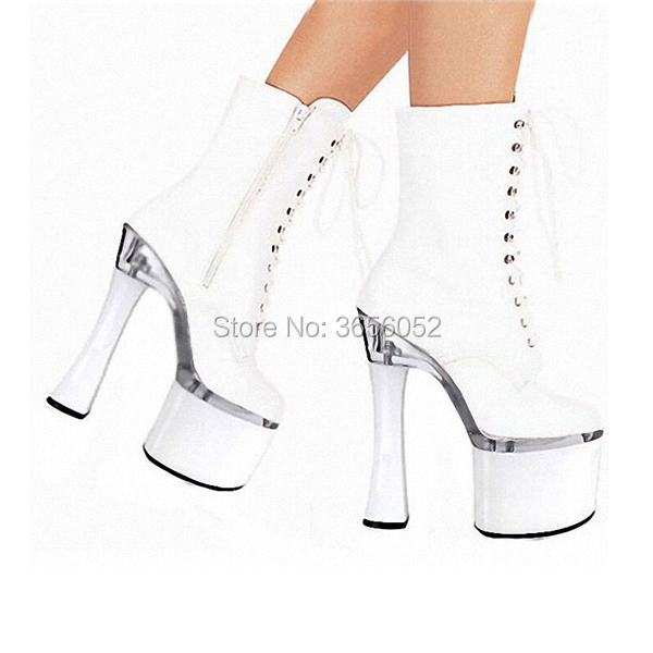Qianruiti Verni Haute Talons Courte Pic As Cuir 18 Chaussures Pic Super Dames Rouge as Noir Plate Bottes Femmes En Fétiche Piste Cm De Sexy Danse forme Blanc rZWqrCPw