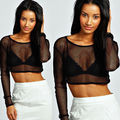 Womens Crop Top Ladies All Mesh Lace Fishnet Long Sleeve Stretch Vest T Shirt