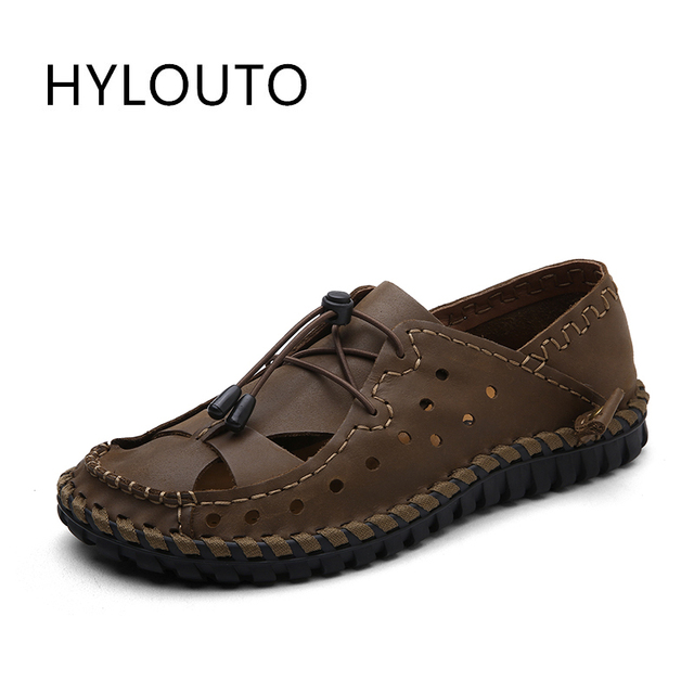 b1d71edd32bb4 2017 Italian Style Men Sandals Slippers Genuine Leather Outdoor Casual  Men S Summer Shoes Gladiator Sandals for Man