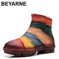 BEYARNE Sıcak Satış Ayakkabı Martin Çizmeler Hakiki Deri Ayak Bileği Ayakkabı Bağbozumu Rahat Ayakkabılar Marka Tasarım Retro El Yapımı Kadınlar Çizmeler Bayan