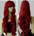 heat resistant Party hair Free shipping>>Long Heat Resistant Big Spiral Curl Dark Red Cosplay Wig 80cm TLD615