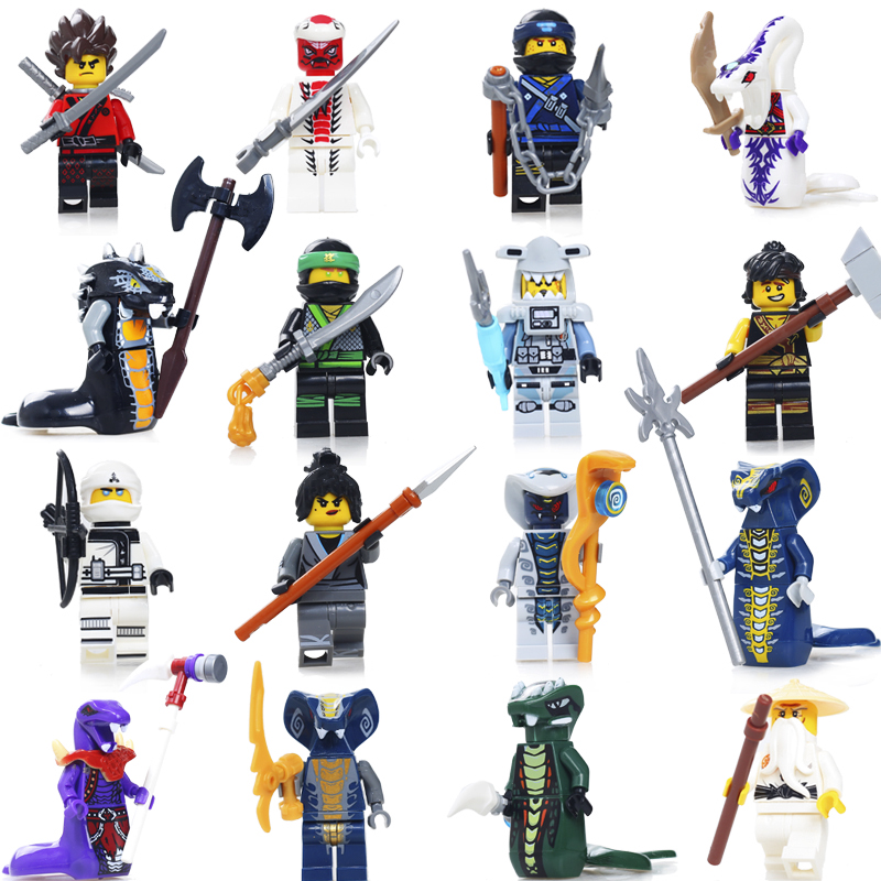 16PCS Compatible LegoeINGly NinjagoINGlys Figures With Weapon Ninja Kai Cole Jay Zane Lloyd Nya Building Blocks Kids Toy Gift kayak suit