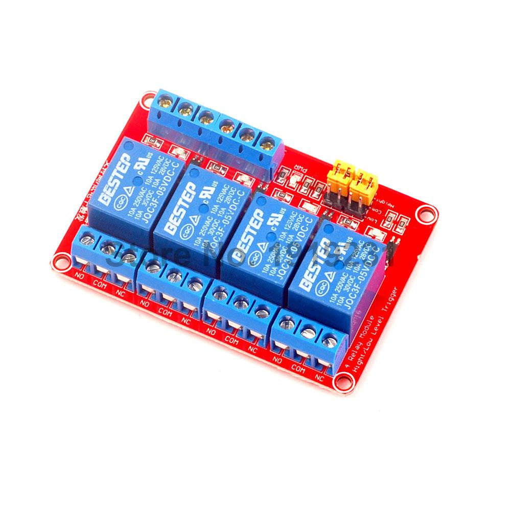 1PCS 4 Channel 5V Relay Module 4-Channel Module High and Low Trigger Red Board 1pc 12v 4 channel relay module with optocoupler isolation supports high low trigger 828 promotion