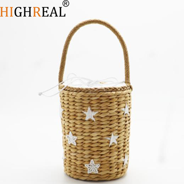 69ff3ce70d27 Hot Sales Handmade Cute Bucket Bag Straw Bags Beach Bags Bucket Holiday  Braided Bags For Girls