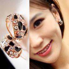 Изысканный красивые блестящие стразы кристалл леопард серьги для женщин ювелирные изделия бесплатная доставка E148