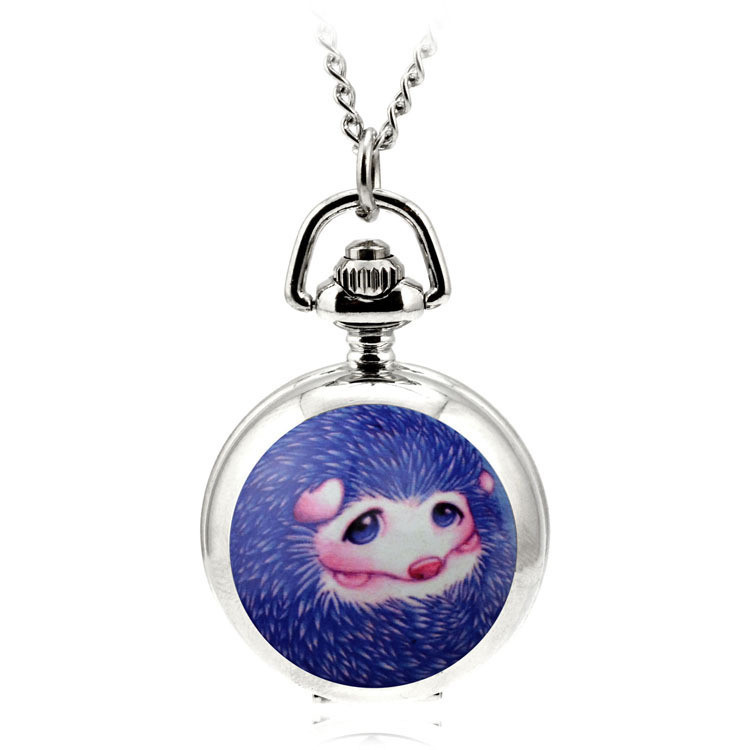 Cartoon Hedgehog Fashion Ceative Silver Quartz Pocket Fob Watch Necklace Pendant Relogio De Bolso Enamel Women Pendant Watch