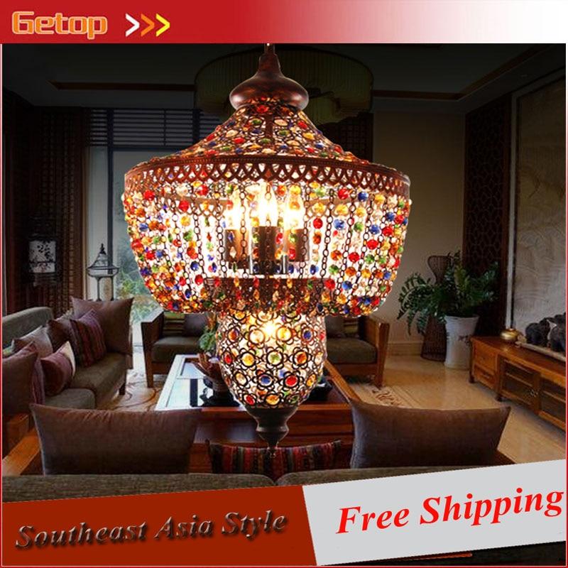ZX Mittelmeer Retro Kristall Pendelleuchte Bhmen Restaurant Wohnzimmer Kristalldroplight LED E27 Korridor Lampe AC 90